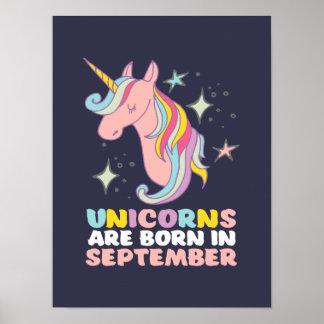 Unicorns Are Born In September Cute Birthday Girl Poster