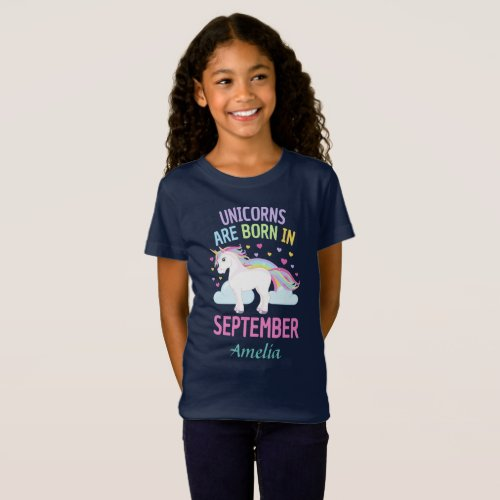 Unicorns are Born In September Personalized Name T_Shirt