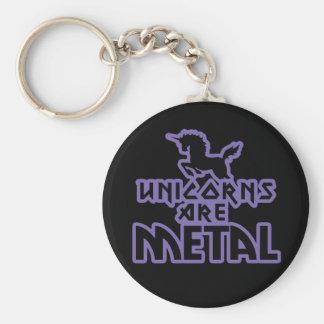 Unicorns are Metal Basic Round Button Keychain