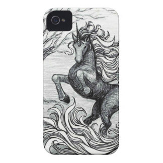 Unicorns Black Unicorn Black & White Drawing iPhone 4 Case