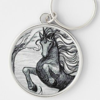 Unicorns Black Unicorn Black & White Drawing Keychain