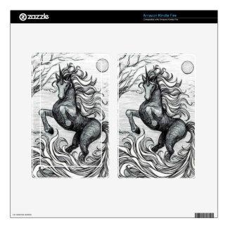 Unicorns Black Unicorn Black & White Drawing Kindle Fire Decals