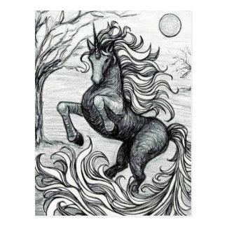 Unicorns Black Unicorn Black & White Drawing Postcard