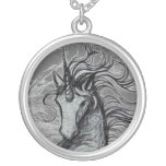 Unicorns Black Unicorn Black & White Drawing Round Pendant Necklace