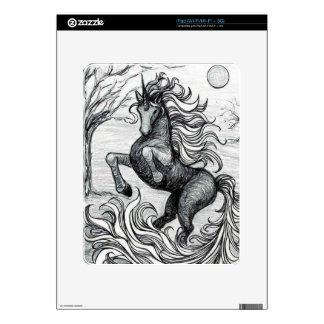 Unicorns Black Unicorn Black & White Drawing Skin For iPad