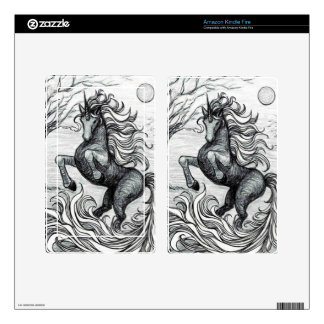 Unicorns Black Unicorn Black & White Drawing Skin For Kindle Fire