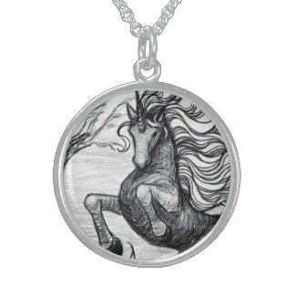Unicorns Black Unicorn Black & White Drawing Sterling Silver Necklace