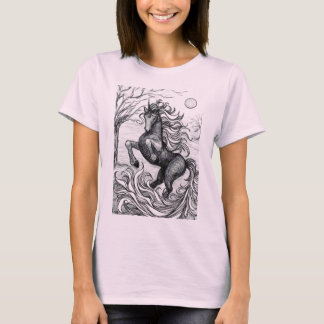 Unicorns Black Unicorn Black & White Drawing T-Shirt