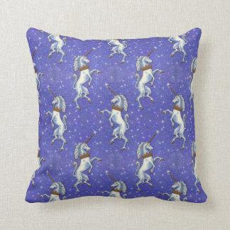 Unicorns Blue Faux Glitter Throw Pillow
