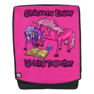 Unicorns Enjoy Writing Together Backpack
