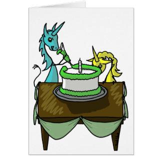 Unicorns Icing a Cake Card