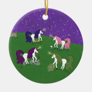 Unicorns in Field Under Purple Sky Cartoon Art Ceramic Ornament
