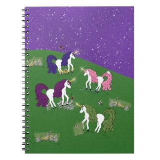 Unicorns in Field Under Purple Sky Cartoon Art Spiral Note Books