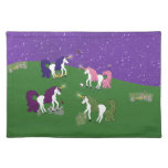 Unicorns in Field Under Purple Sky Cartoon Art Place Mats