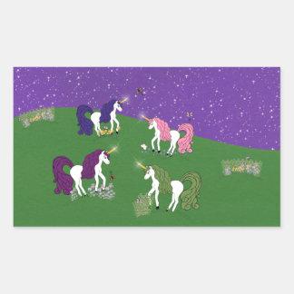 Unicorns in Field Under Purple Sky Cartoon Art Rectangular Sticker