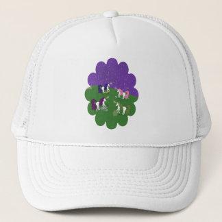 Unicorns in Field Under Purple Sky Cartoon Art Trucker Hat