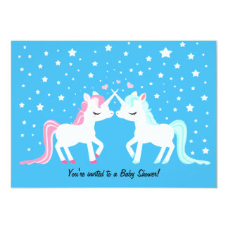 Unicorns in love baby shower card