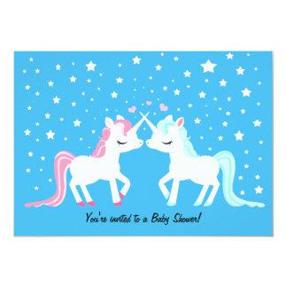 Unicorns in love baby shower 5x7 paper invitation card