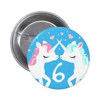 Unicorns in love Button birthday