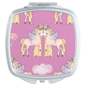 Unicorns in Love Pink Compact Mirror