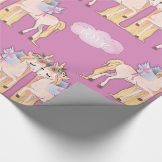 Unicorns in Love Pink Wrapping Paper