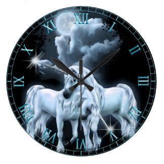 Unicorns in the Moonlight  Wall Clock