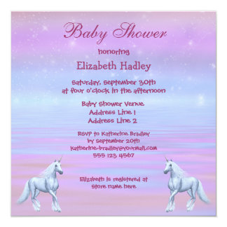 Unicorns Magical Fantasy Girls Baby Shower 5.25x5.25 Square Paper Invitation Card