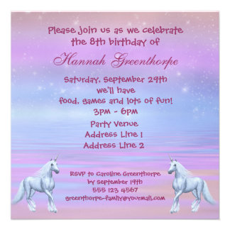 Unicorns Magical Fantasy Girls Birthday Party Invitation