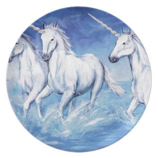 unicorns melamine plate