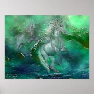 Unicorns Of The Sea Art Poster/Print