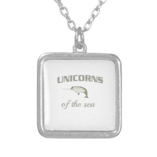 Unicorns of the Sea Square Pendant Necklace