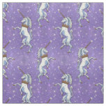 Unicorns on Purple Glitter Fabric