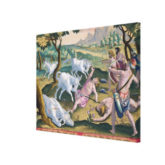 Unicorns on the Banks of the Indus, Hunted by Perm Canvas Print