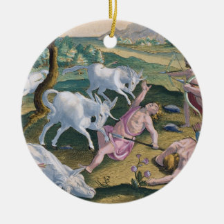 Unicorns on the Banks of the Indus, Hunted by Perm Ceramic Ornament