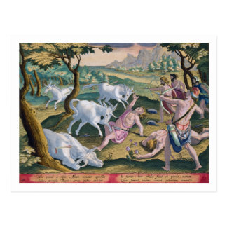 Unicorns on the Banks of the Indus, Hunted by Perm Postcard