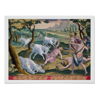 Unicorns on the Banks of the Indus, Hunted by Perm Poster