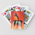 Unicorns on the rock with waterfalls bicycle poker deck