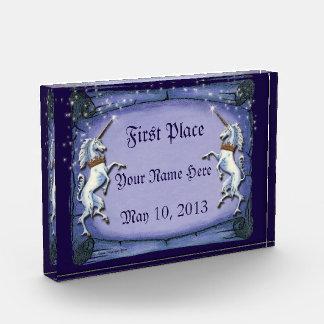 Unicorns Purple Scroll Acrylic Award