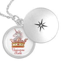 Unicorns Rule Locket Necklace
