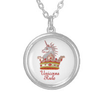 Unicorns Rule Silver Plated Necklace