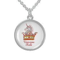 Unicorns Rule Sterling Silver Necklace