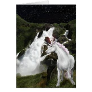 Unicorns waterfall greeting card