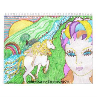 Unicorns World, ARTIST DONNA LYNN RAINBOW Calendar