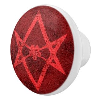 Unicursal Hexagram (Red Textured) Ceramic Knob