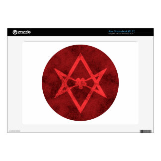 Unicursal Hexagram (Red Textured) Decal For Acer Chromebook