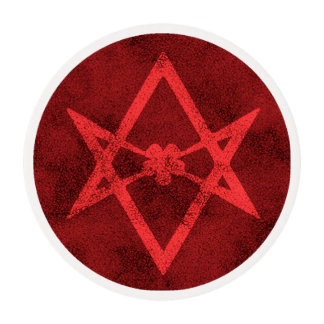 Unicursal Hexagram (Red Textured) Edible Frosting Rounds