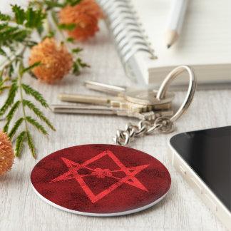 Unicursal Hexagram (Red Textured) Keychain
