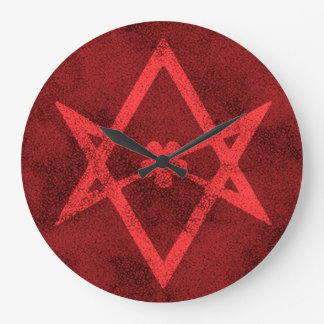 Unicursal Hexagram (Red Textured) Large Clock