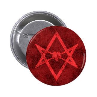 Unicursal Hexagram (Red Textured) Pinback Button
