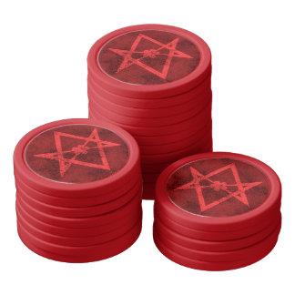 Unicursal Hexagram (Red Textured) Poker Chips Set